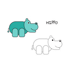 Coloring book hippo vector
