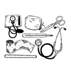doctor tools engraving vector image vector image