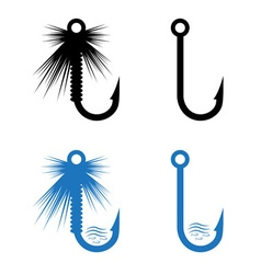 Fishing hooks and lures set vector