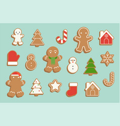 Ginger bread cookie in various shape vector