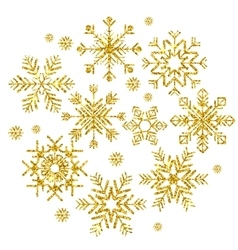 golden snowflakes set vector image vector image