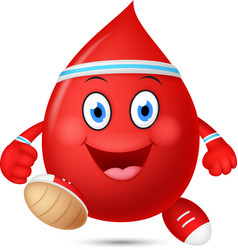 happy blood cartoon running vector image