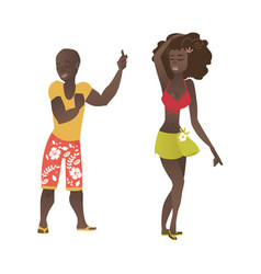 hawaiian black couple dancing at beach party vector image