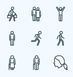 human outline icons set collection of man vector image vector image