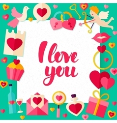 I love you day paper template vector