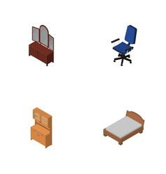 isometric furnishing set of office cupboard vector image