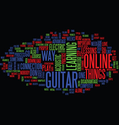 Learn to play the guitar online text background vector