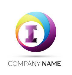 letter i logo symbol in the colorful circle on vector image vector image