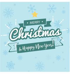 Merry christmas happy new year ribbon snowflake bl vector