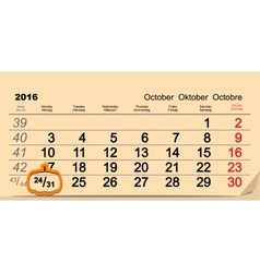 October 31 2016 halloween date of wall calendar vector