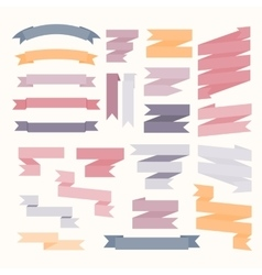 Pastel color ribbons set vector