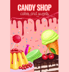 Poster with confectionery and sweets vector
