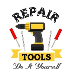 Repair work tools emblem vector image
