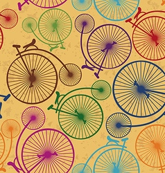 Seamless pattern of retro bicycles vector