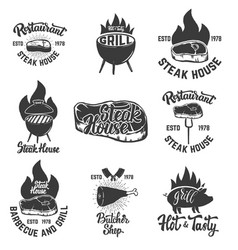 set of steak house emblems grilled meat vector image