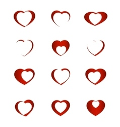 Set of symbol heart vector image