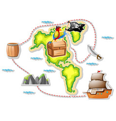 treasure map and pirate ship vector image