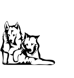 two dogs vector image vector image