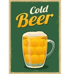 Vintage poster cold beer vector