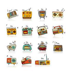 vintage radio set sketch for your design vector image vector image