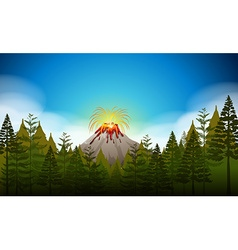 Volcano eruption scene at daytime vector image vector image