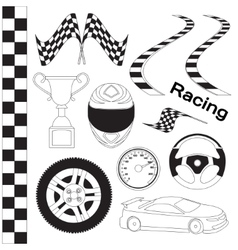 Car race icons set vector