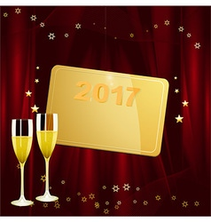 New years golden tag with date and champagne vector