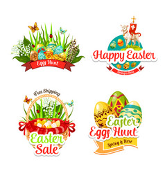 Icons and paschal stickers for easter sale vector