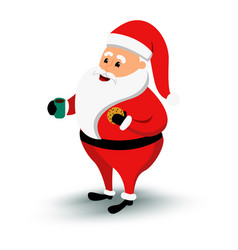 christmas smiling santa claus character cartoon vector image