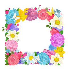 isolated frame with colorful spring flowers on vector image