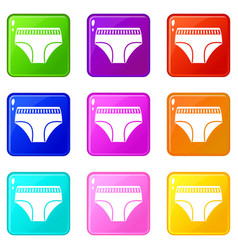 Woman cotton panties icons 9 set vector