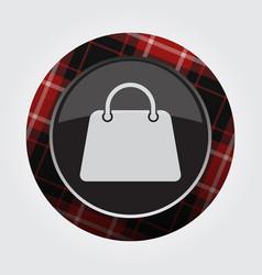 Button with red black tartan - shopping bag icon vector