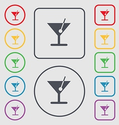 Cocktail icon sign symbol on the round and square vector