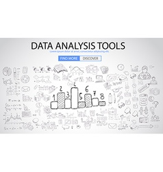 Data analysis tools with doodle design style vector