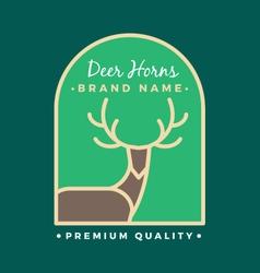 Reindeer Head and Horns Logo Template vector image