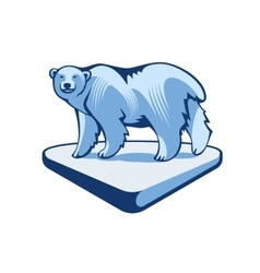 Polar bear on the block of ice vector