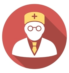 Main physician flat round icon with long shadow vector