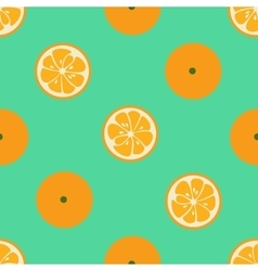 Cute seamless pattern with orange slices on red vector