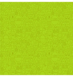 Thin line happy easter green seamless pattern vector