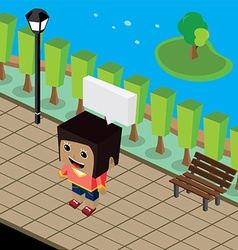 Cartoon life isometric theme vector
