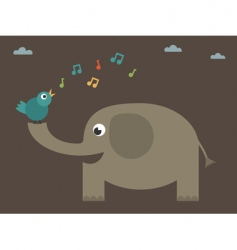 Bird singing on elephant vector