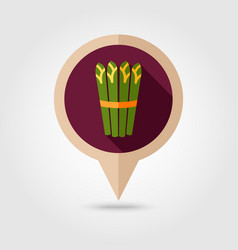 Asparagus flat pin map icon vegetable vector