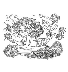 Beautiful mermaid girl lies on a rock outlined vector
