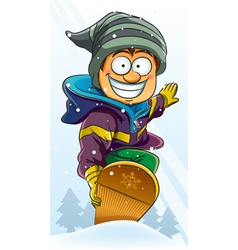 boy playing snowboard vector image vector image