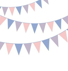 Bunting banner rose quarts and serenity colors vector