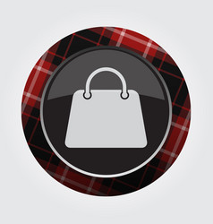 Button with red black tartan - shopping bag icon vector