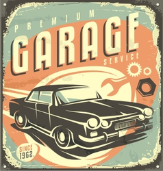 Car service - Promotional retro design concept vector image