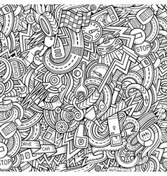 Cartoon hand-drawn doodles car style theme vector image