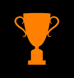 Champions cup sign orange icon on black vector