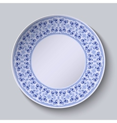 Circular blue flower pattern with empty space in vector